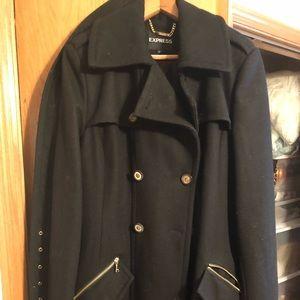 Express Long Black Coat - size medium (6-8)